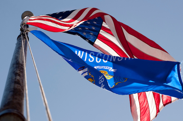 Photo of Wisconsin and U.S. Flags